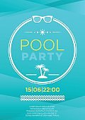 Vertical blue pool party background.