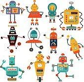 Set cute robots vector characters