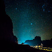 Milky Way. The starry sky over the mountains near by Courthouse, in the Arches National Park, Utah