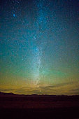 The starry sky over the remote mountains at sunset in Nevada, USA