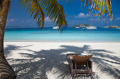 lounge chair under palm tree on beautiful tropical beach