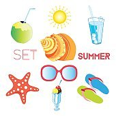 Vector set of different items of summer