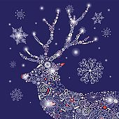 Vector Christmas ornamental deer portrait
