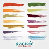 Set of vector grunge colored brush strokes created with gouache. A high resolution.