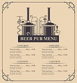 beer pub menu with a price list in retro style