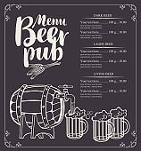 beer pub menu with barrel and full beer glasses