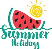 lettering summer holidays with watermelon and sun