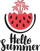 inscription hello summer with watermelon and palms