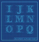 blueprint style letters font alphabet.Vector illustration