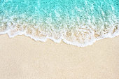 Soft wave of blue ocean on the beach