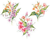 Set of watercolor tropical vintage floral bouquet of exotic flowers
