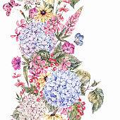 Watercolor Vintage Floral Seamless Border