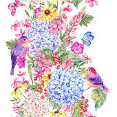 Seamless border with pair of birds and hydrangea