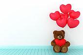 Teddy bear holding balloon heart sharp