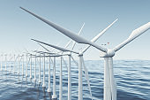 White wind turbine generating electricity in sea, ocean. Clean energy, wind energy, ecological concept. 3d rendering