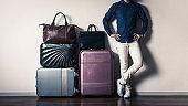 Travel bag and man