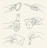 Hand-drawn hands holding different type of things: bottle, knife, sunglasses, envelope, key, and cup