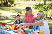 Happy family having meal in park