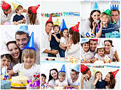 Collage of families celebrating a birthday together at home