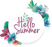 Round banner with the  Hello Summer logo.  Card for summer season with white frame and herb. Promotion offer with summer plants, leaves and flowers decoration.  Vector