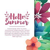 Template design banner with Hello summer logo. Card for summertime season with white frame on flower background. Invitation layout with  plants, leaves and flowers decoration. Vector