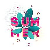 Design banner with Summer text. Glitch texture text with plant decoration. Template seasons poster with blue leaf and pink geometric shape on white backgraund. Vector