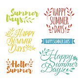 Color Summer logotype set. Badge, ribbon, plant elements, flower and laurels branches for summer logo. Simple, cute  hello summer label. Natural design template. Vector.