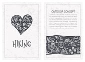 Linear design backgrounds with hand drawn lettering. Vector line concept for hiking.