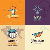 Education flat Icons, hand holding pencil icon, light bulb icon, world icon, paper plane icon