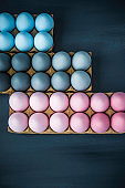 Hand painted gray, pink and blue ombre Easter eggs background