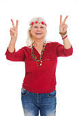 Senior woman dressed like a hippie