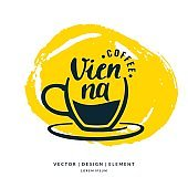 Modern hand drawn lettering label for coffee drink Vienna