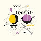 Summer time stylish poster, trendy graphics