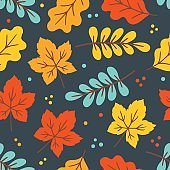 Seamless pattern with colorful maple and oak leaves