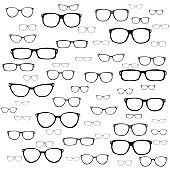 Vector - set of different glasses on white background.