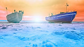 fisherman boat at the arctic ocean in sunset or sunrise