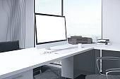Blank white computer monitor