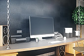 Designer desktop with laptop