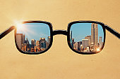 Glasses with city view