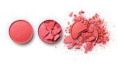 Round orange crashed eyeshadow for make up as sample of cosmetic product