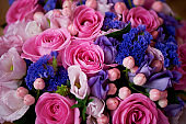 Wedding bouquet in pink and purple tones. Beautiful and delicate. Texture