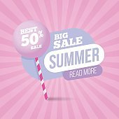 Summer sale pastel colors template banner with sweet candy.
