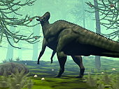 Corythosaurus dinosaur eating - 3D render