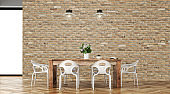 Dining room with table and decoration - Stock image
