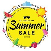 Vector summer sale template banner, hand drawn typographic lettering with scribble circle isolated on white background with flat sun, watermelon, ice cream, strawberry vector summer design elements.