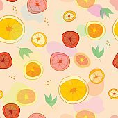 Seamless pattern with oranges, lemons and grapefruit. Food background