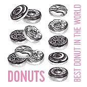 Vector hand drawn set of donuts Illustration.