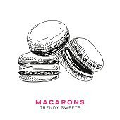 Vector hand drawn macarons Illustration.