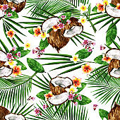 Exotic Coconuts. Watercolor seamless pattern.