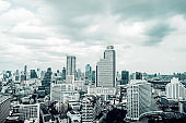 Cityscape view of Bangkok Thailand with sky and cloud
